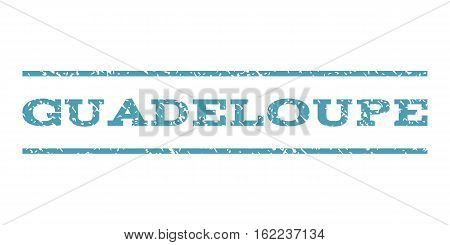 Guadeloupe watermark stamp. Text caption between horizontal parallel lines with grunge design style. Rubber seal stamp with scratched texture. Vector cyan color ink imprint on a white background.