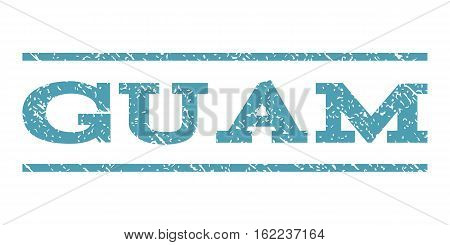 Guam watermark stamp. Text caption between horizontal parallel lines with grunge design style. Rubber seal stamp with scratched texture. Vector cyan color ink imprint on a white background.