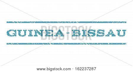 Guinea-Bissau watermark stamp. Text caption between horizontal parallel lines with grunge design style. Rubber seal stamp with dust texture. Vector cyan color ink imprint on a white background.