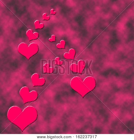 Hearts and black-and-red clouds on the back. Tress of hearts. Texture background. Web seamless background.