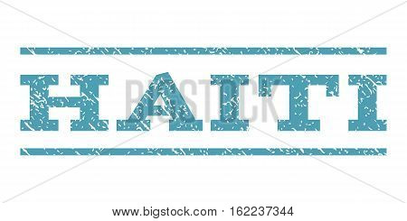 Haiti watermark stamp. Text caption between horizontal parallel lines with grunge design style. Rubber seal stamp with dirty texture. Vector cyan color ink imprint on a white background.