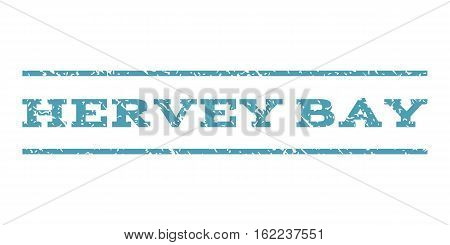 Hervey Bay watermark stamp. Text tag between horizontal parallel lines with grunge design style. Rubber seal stamp with unclean texture. Vector cyan color ink imprint on a white background.