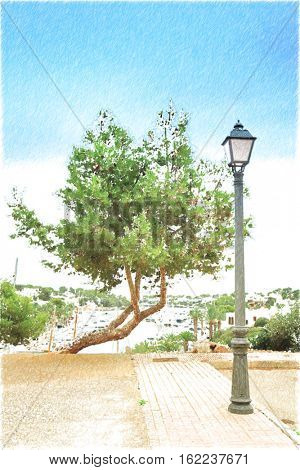 Lonely pine on the background of the port.  Digital illustration in draw, sketch style.