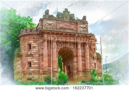 The Karls - gate Heidelberg, Germany.   Digital illustration in draw, sketch style.