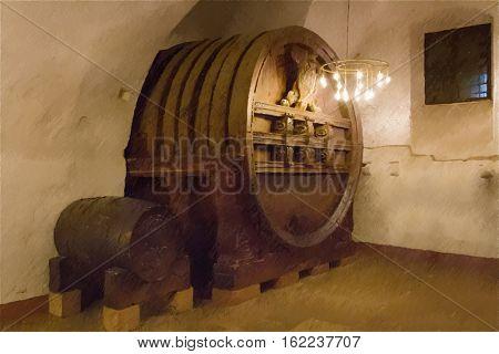 Old wine barrel in the castle Heidelberg. Germany.  Digital illustration in draw, sketch style.