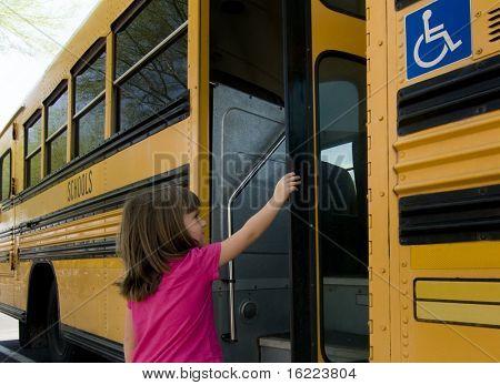 Little girl boarding school bus