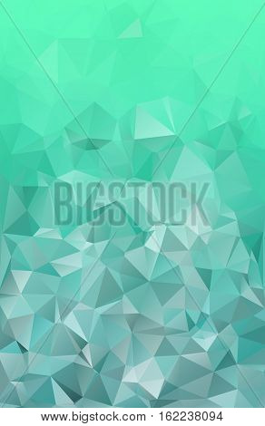 Emerald green New Year abstract polygonal geometric christmas background -- low poly. Vector illustration