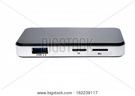 Close Up of external generic USB 3.0 Card Reader isolated. Multi card reader for SD CF dx MS TF and m2 memory card isolated on white background poster