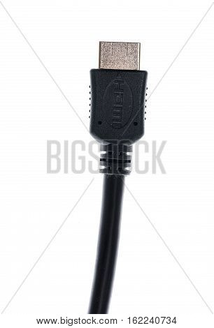 Black Audio Video Hdmi Computer Cable Isolated On White Background.