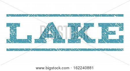 Lake watermark stamp. Text caption between horizontal parallel lines with grunge design style. Rubber seal stamp with scratched texture. Vector cyan color ink imprint on a white background.