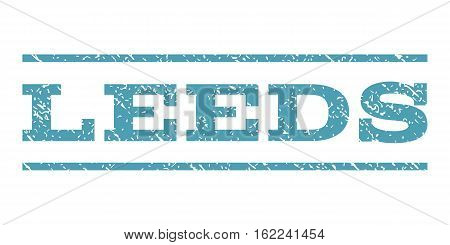 Leeds watermark stamp. Text tag between horizontal parallel lines with grunge design style. Rubber seal stamp with unclean texture. Vector cyan color ink imprint on a white background.