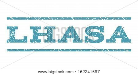 Lhasa watermark stamp. Text tag between horizontal parallel lines with grunge design style. Rubber seal stamp with unclean texture. Vector cyan color ink imprint on a white background.