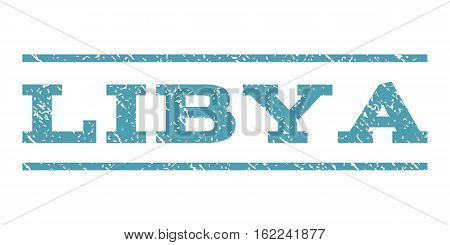 Libya watermark stamp. Text tag between horizontal parallel lines with grunge design style. Rubber seal stamp with dirty texture. Vector cyan color ink imprint on a white background.