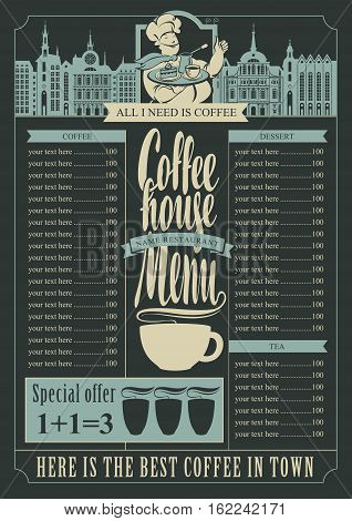 coffee house menu for a price list and a chef and a tray