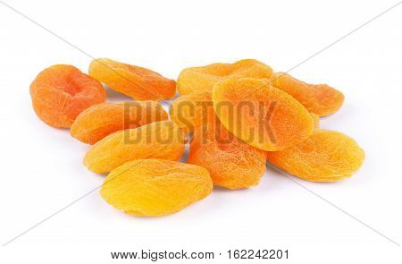 Dried apricots on a white background  eating, dry, kit, raw, freshness
