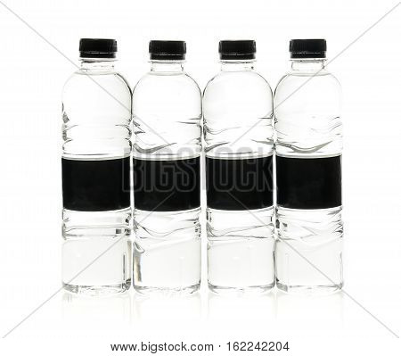 Soda Water Plastic Bottles With Blank Label. Isolated On White