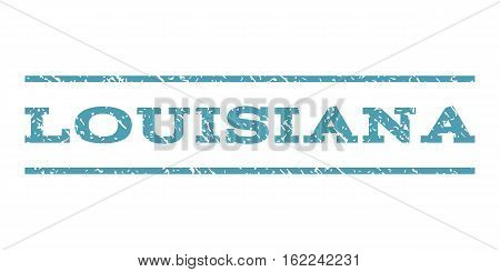 Louisiana watermark stamp. Text caption between horizontal parallel lines with grunge design style. Rubber seal stamp with scratched texture. Vector cyan color ink imprint on a white background.