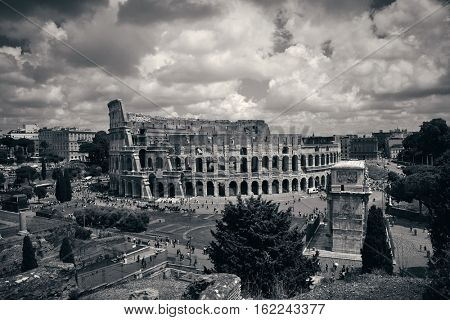 Colosseum with Rome Forum ruins, Italy.