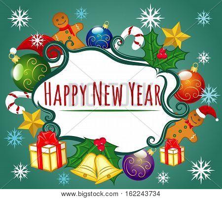 Happy New Year, Holiday, Gingerbread Man Cookies, Candy, Gifts, Christmas Hat, XMas Balls, Gold Stars, Jingle Bells, European Holly, Ilex Aquifolium EPS 10