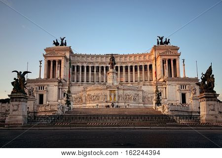 National Monument to Victor Emmanuel II or II Vittoriano in Piazza Venezia, Rome, Italy with street view.