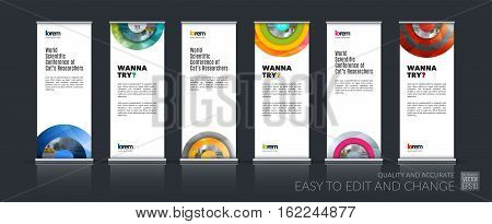 Abstract business vector set of modern roll Up Banner stand design template with half target, rainbow, circles for exhibition, fair, show, exposition, expo, presentation, festival, parade, events.
