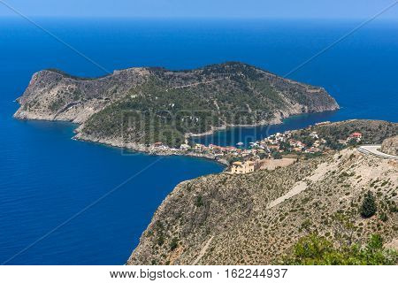 Assos village and beautiful sea bay, Kefalonia, Ionian islands, Greece