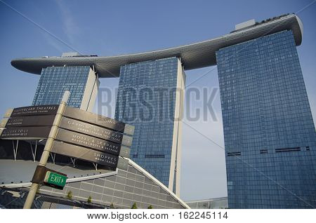 Singapore, Republic of Singapore - 04 November, 2014: Cityscape skyscraper architecture sunset view of downtown