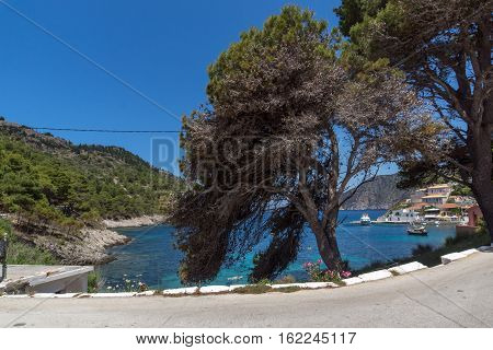 Amazing Panorama of Assos village and beautiful sea bay, Kefalonia, Ionian islands, Greece