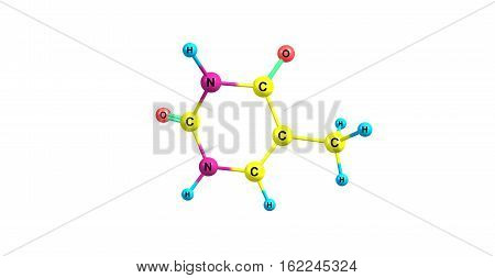 Thymine - T Thy - is one of the four nucleobases in the nucleic acid of DNA. 3d illustration