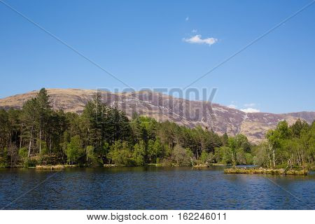 Glencoe Lochan area of forest and lake north of Glencoe Village Lochaber Scottish Highlands Scotland UK