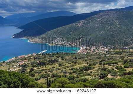 Panoramic view of Agia Effimia town, Kefalonia, Ionian islands, Greece