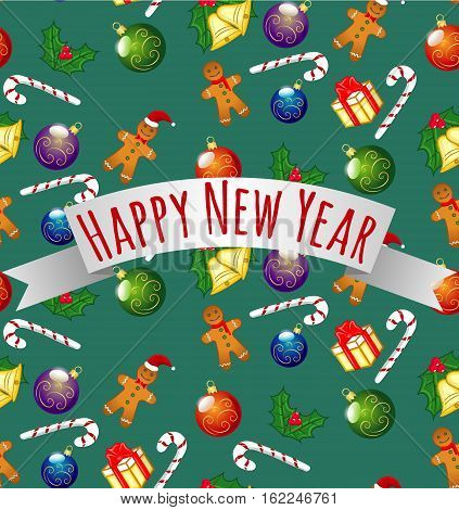 Happy New Year Seamless Pattern Holiday, Gingerbread Man Cookies, Candy, Gifts, Christmas Hat, XMas Balls, Jingle Bells, European Holly, Ilex Aquifolium, Vector Illustration EPS 10