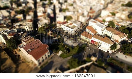 monastiraki aerial view tilt shift athens greece