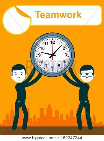 Abstract Businessman holding Time. Teamwork. Stock vector illustration