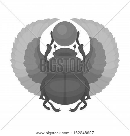 Scarab icon in monochrome style isolated on white background. Ancient Egypt symbol vector illustration.