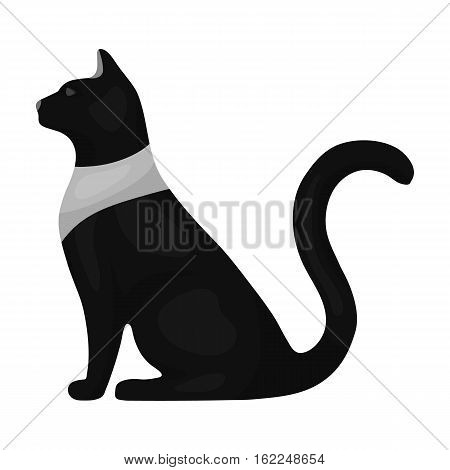 Cat goddess Bastet icon in monochrome style isolated on white background. Ancient Egypt symbol vector illustration.