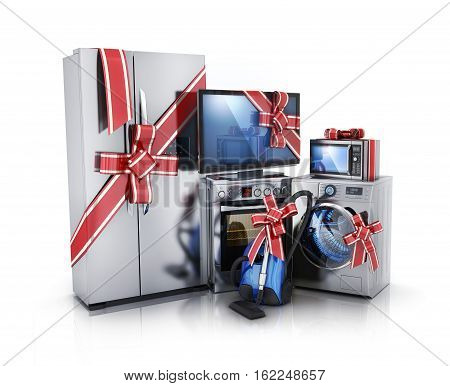 Gift modern consumer electronics Fridge washer tv microwave and electric-cooker. 3d illustration