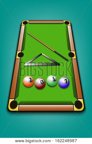 2017 year of billiard balls on a table with a cue. Vector illustration