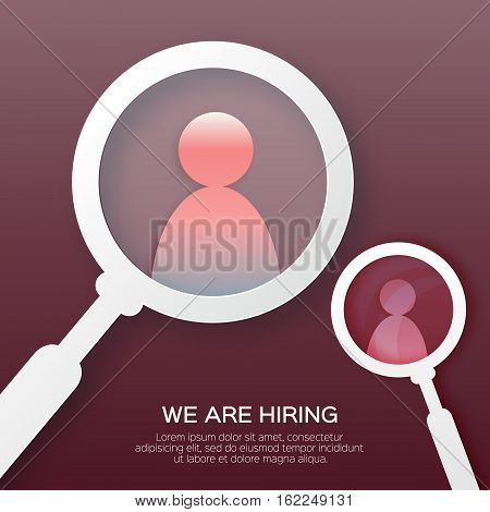 Choosing the talented person for hiring. HR job seeking concepts. The choice of the best suited employee. Find right person on red background. Paper cut design Vector illustration