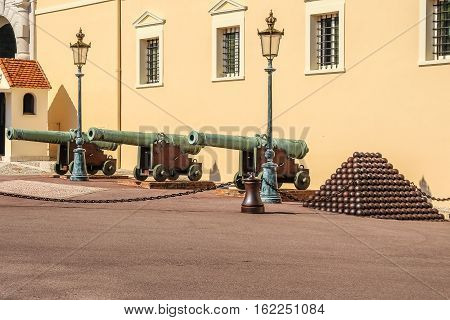 Palace Square In Monaco, Old Cannons And The Nucleus