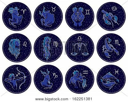 Collection of All Zodiac Signs. Vector illustration of Zodiac Signs on Night Starry Sky Background. Aries, Taurus, Gemini, Cancer, Leo, Virgo, Libra, Scorpio, Sagittarius, Capricorn, Aquarius, Pisces.