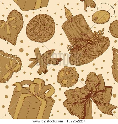 Golden seamless pattern with gift box, candle, cookies, orange, bow. Hand drawn pattern, design element for gift shop or souvenir shop flyer, banner, coupon, greeting card and other print advertising. Vector illustration.