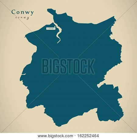 Modern Map - Conwy Wales Uk Illustration