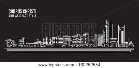 Cityscape Building Line art Vector Illustration design - Corpus Christi city