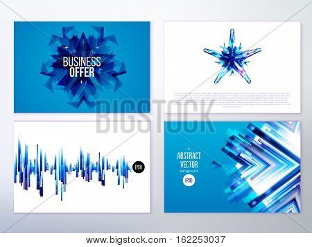 Modern abstract banners for business. Blue design pattern. Vector illustration. Identity elements.
