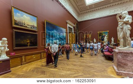 Saint Petersburg, Russia - July 26, 2014:  Visitors View The Aivazovsky Hall Of The Russian Museum