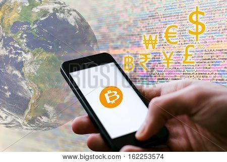 Digital wallet on Smartphone, Digital money concept, coded money