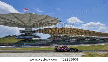SEPANG MALAYSIA - SEPTEMBER 30 2016 : Scuderia Toro Rosso driver Carlos Sainz during free practice 2 2016 Formula One (F1) Petronas Malaysia Grand Prix.