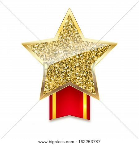 Yellow brilliant star with ribbon with gold stripes. Golden star with gold sparkles and glitter on red ribbon