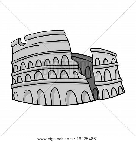 Colosseum in Italy icon in monochrome style isolated on white background. Italy country symbol vector illustration.